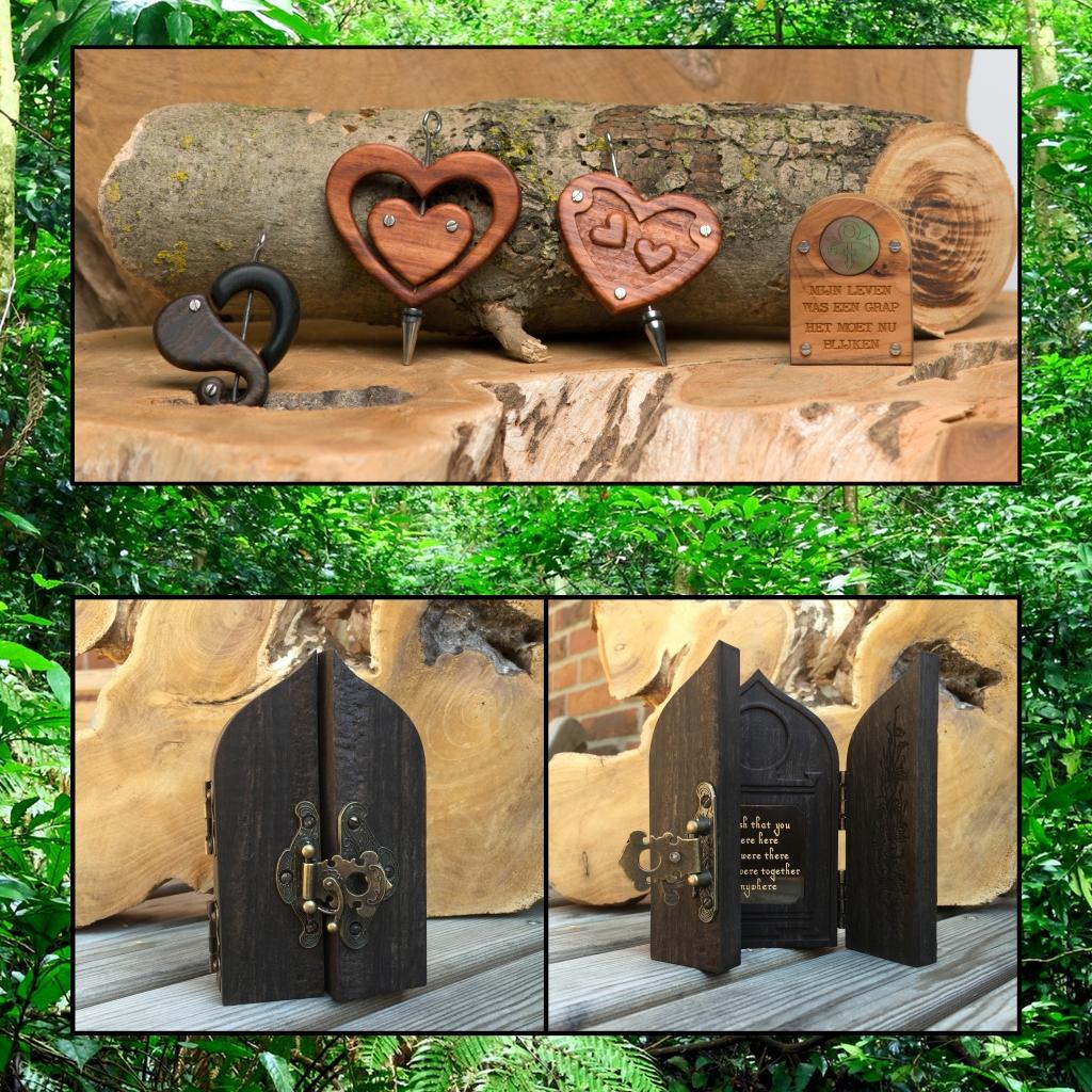 Assieraad gedenkobject hout gedenk tekens