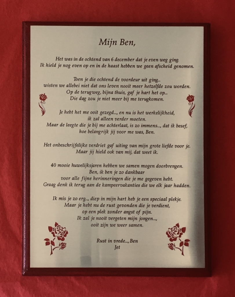 Gedenkplaat plaquette gedicht graveren