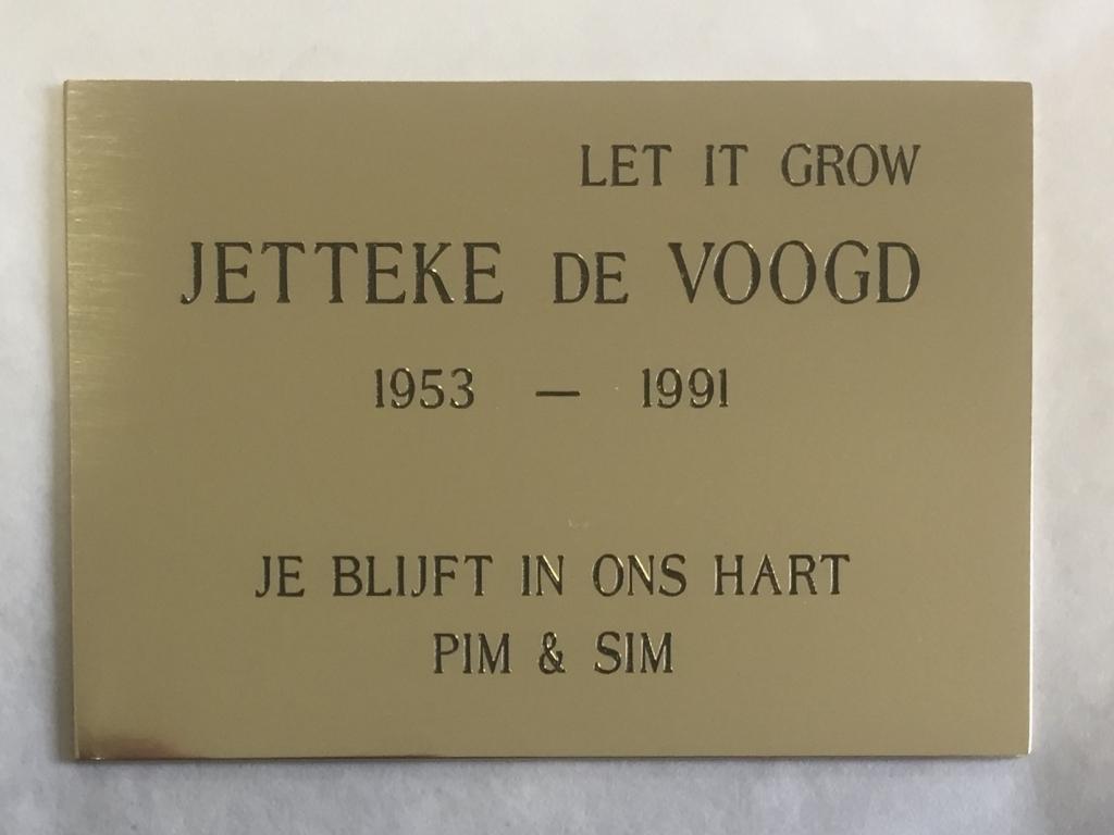 Plaquette gedenkplaat laten maken messing Jetteke