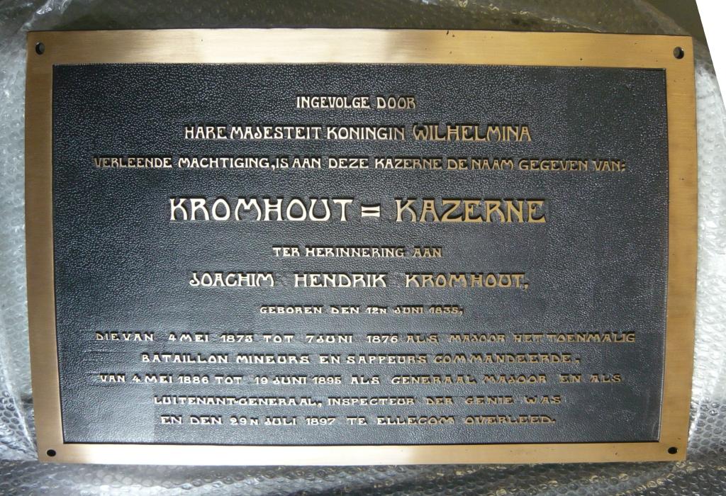 Plaquette laten maken brons Kromhoutkazerne