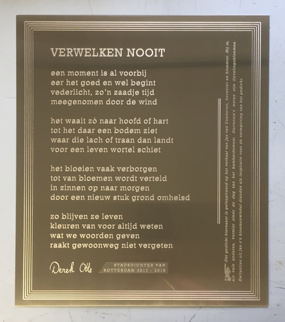 Plaquette laten maken gegraveerd gedicht stadsdichter Otte