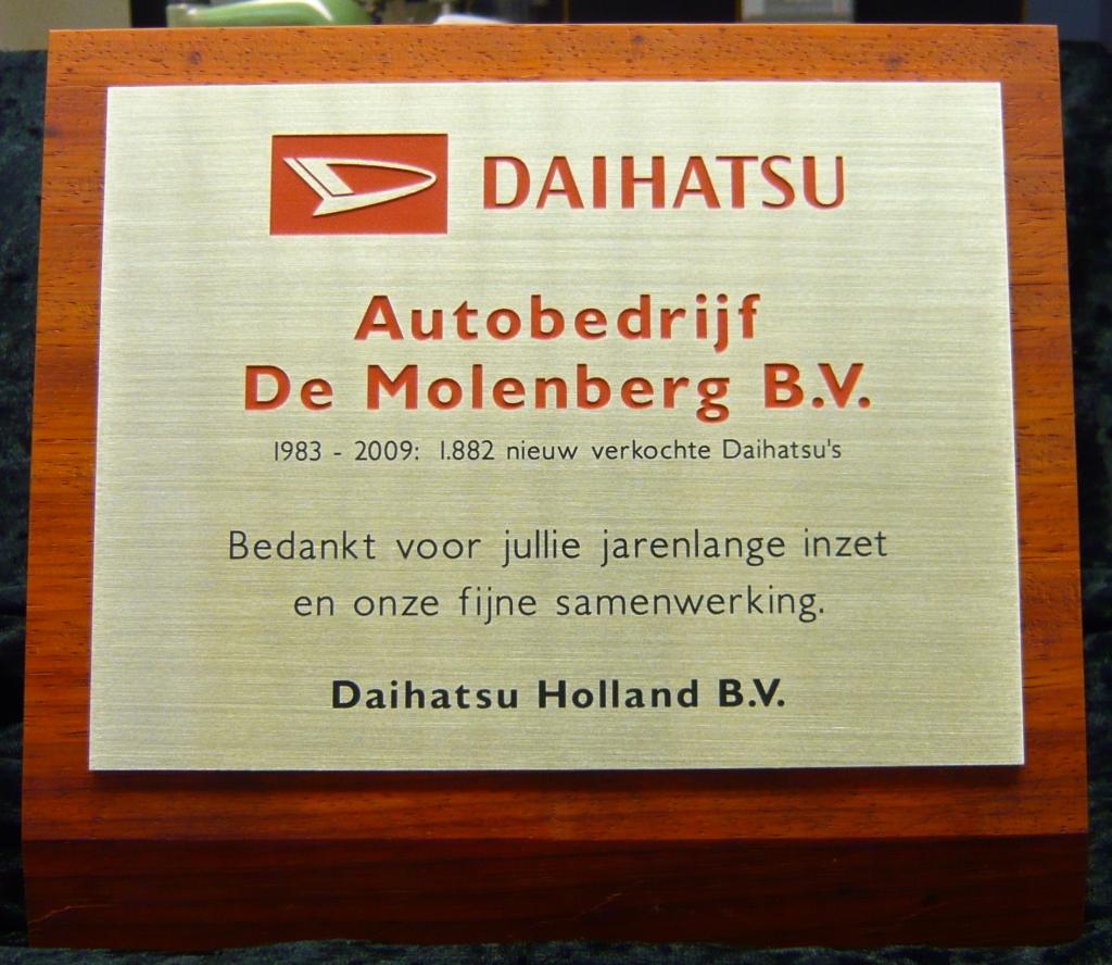 Plaquette maken messing Daihatsu