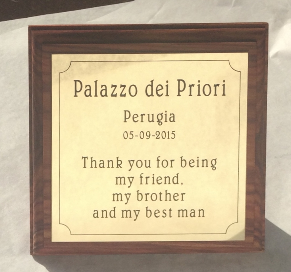 Plaquette laten maken messing Palazzo