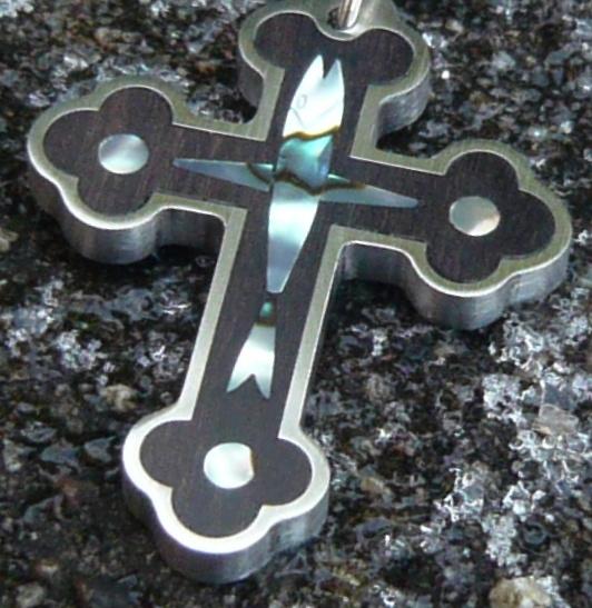 Kruis sieraad hout in rvs