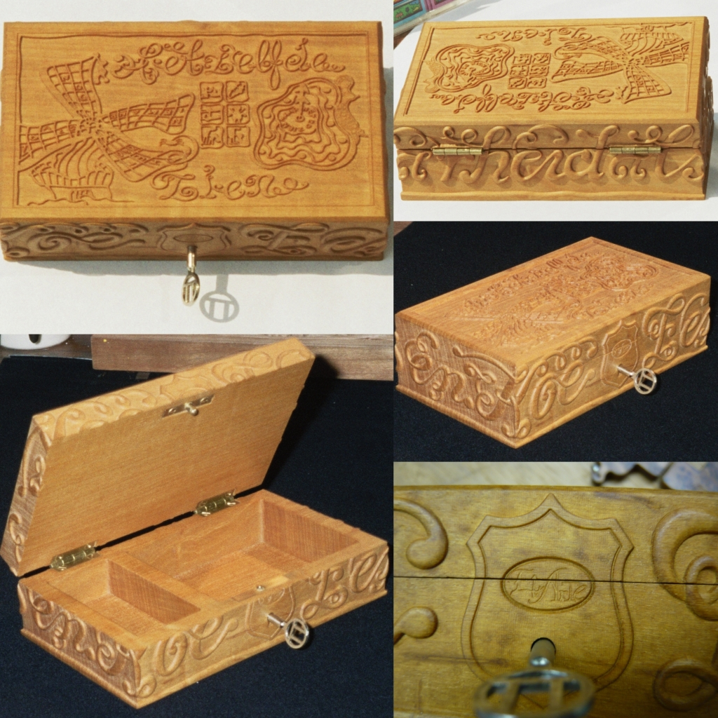 Houten kistje met gravures